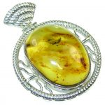Natural! Secret Polish Amber Sterling Silver Pendant