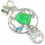 Fresh Green Turquoise Sterling Silver Pendant