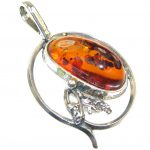 Amazing!! Brown Polish Amber Sterling Silver Pendant