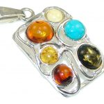 Special Moment! Multicolor Polish Amber Sterling Silver Pendant