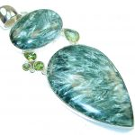 Big! Green Island!! Russian Seraphinite Sterling Silver Pendant