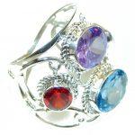 Big! Fantastic Multicolor Quartz Sterling Silver ring s. 11