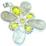 Big! Awesome Golden Rutilated Quartz Sterling Silver Pendant