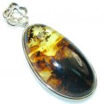 Exclusive!! Brown Polish Amber Sterling Silver Pendant