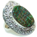 Natural Multicolor Ammolite Sterling Silver ring s. 9 1/2