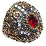 Victorian Style!! Red Garnet Quartz Sterling Silver ring s. 6 1/2