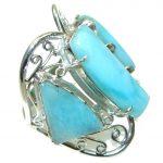 Large! Fashion Blue Larimar Sterling Silver Ring s. 10