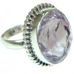 Delicate! Lavender Roses Amethyst Sterling Silver Ring s. 9 1/2