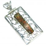 Natural Red Ammolite Sterling Silver Pendant