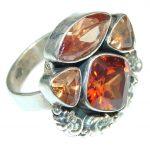Amazing! Golden Quartz, Honey Quartz Sterling Silver Ring s. 8 1/4