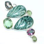 Big! Tropical Glow! Russian Seraphinite Sterling Silver Pendant