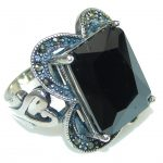 Stability, Grounding! Hematite, Marcasite Sterling Silver Ring s. 6