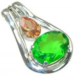 Tropical Glow! Created Green Peridot Sterling Silver pendant