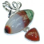 Exclusive Style! Brown Agate Sterling Silver Pendant