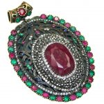 Big! Victorian Style! Green Emerald, Ruby, White Topaz Sterling Silver Pendant