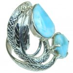 Large! New Exclusive Style! Light Blue Larimar Sterling Silver Ring s. 11 1/4