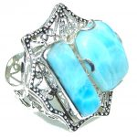 Big! Beautiful! Light Blue Larimar Sterling Silver Ring s. 10