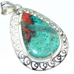 Swirling Flame! Red Sonora Jasper Sterling Silver Pendant