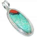 Big! Touch Of Life! Red Sonora Jasper Sterling Silver Pendant