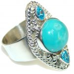 Just Perfect! Blue Turquoise Sterling Silver ring s.11