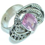 Summer Time! Pink Topaz Quartz Sterling Silver ring s. 8