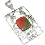 Excellent Look Of Red Sonora Jasper Sterling Silver Pendant