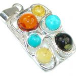 Amazing! Baltic Polish Multicolor Amber, Turquoise Sterling Silver Pendant