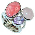 Precious! Pink Rhodochrosite Sterling Silver ring s. 8 – Adjustable