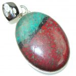 Natural! Red Sonora Jasper Sterling Silver Pendant