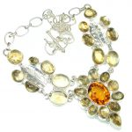 Perfect Design! Golden Rutilated Quartz, Honey Topaz Sterling Silver necklace