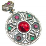 Victorian Style! Green Emerald, Ruby, White Topaz Sterling Silver Pendant