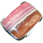 Perfect Style! Pink Rhodochrosite Sterling Silver ring s. 8 1/2