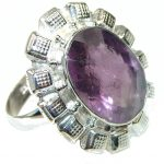 Amazing Purple Amethyst Sterling Silver Ring s. 9 1/2