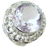 Sweetness And Poetic Romance!! Light Pink Amethyst Sterling Silver Ring s. 8