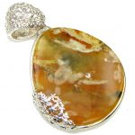Fancy Design! Baltic Polish Amber Sterling Silver Pendant