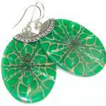 Excellent Green Shell Sterling Silver earrings