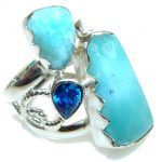 Pale Beauty! AAA Blue Larimar & London Blue Topaz Sterling Silver Ring s. 7 1/2