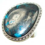 Big! Stone Of Harmony! Chrysocolla Sterling Silver ring s. 10 1/2