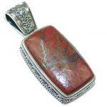 Solid! Red Sonora Jasper Sterling Silver Pendant
