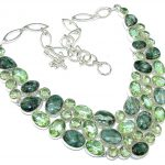 Exclusive Style! Green Seraphinite Sterling Silver necklace