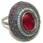 Victorian Style! Red Garnet Quartz Sterling Silver Ring s. 9 1/4