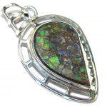 Galaxy Queen! Multicolor Ammolite Sterling Silver Pendant