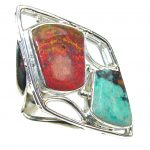 Excellent! Red Sonora Jasper Sterling Silver ring s. 7 1/2