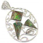 Secret Chamber! Green Ammolite Sterling Silver Pendant