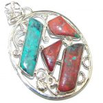 Natural! AAA Red Sonora Jasper Sterling Silver Pendant