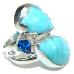 Natural Beauty! AAA Larimar & London Blue Topaz Sterling Silver Ring s. 9