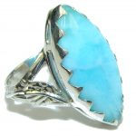 Simple Design! AAA Blue Larimar Sterling Silver Ring s. 6 1/2