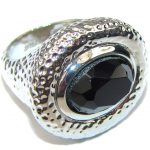 Just Perfect! Heavy Silver Hematite Sterling Silver ring s. 9 1/2