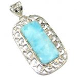 Big! Genuine! Light Blue Larimar Sterling Silver Pendant