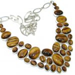 Natural Beauty! AAA Brown Tigers Eye Sterling Silver necklace